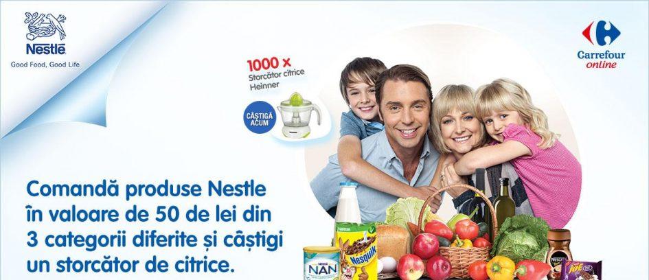 Alege produse Nestle in valoare de 50 de lei si primesti gratuit si garantat un storcator de citrice